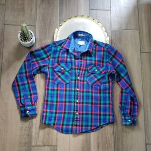 Vintage flannel plaid button down shirt L